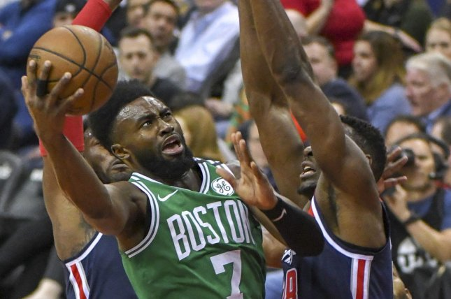 Jaylen Brown and the Boston Celtics sqaure off with the Detroit Pistons on Tuesday night. Photo by Mark Goldman/UPI