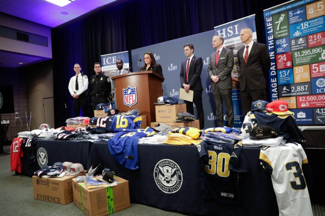 Counterfeit NFL merchandise seized in a nationwide joint operation is displayed at a Super Bowl LIII counterfeit merchandise and tickets press conference at the Georgia World Congress Center. Photo by John Angelillo/UPI