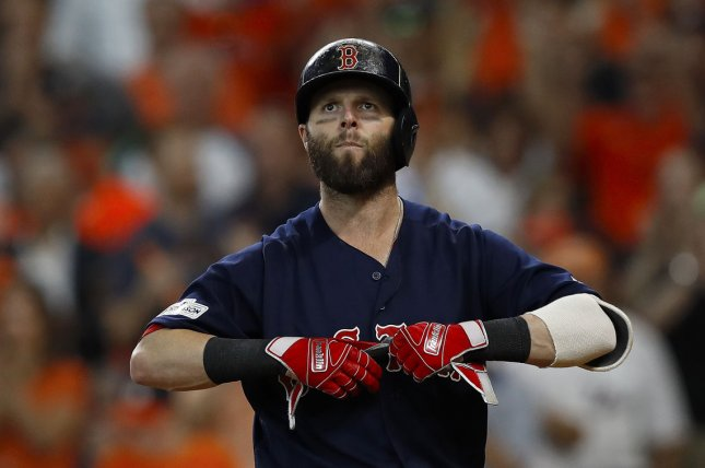 Boston Red Sox second baseman Dustin Pedroia is still recovering from issues with his left knee and will not start the season with the team, instead taking extended spring training in Fort Myers, Florida. File Photo by Aaron M. Sprecher/UPI.