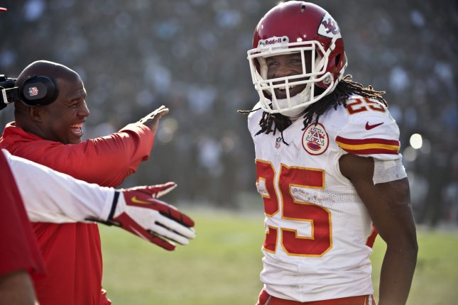 Former Kansas City Chiefs running back Jamaal Charles (25) will sign a one-day contract with the Chiefs and retire with his longtime team. Charles played nine seasons in Kansas City. File Photo by Terry Schmitt/UPI