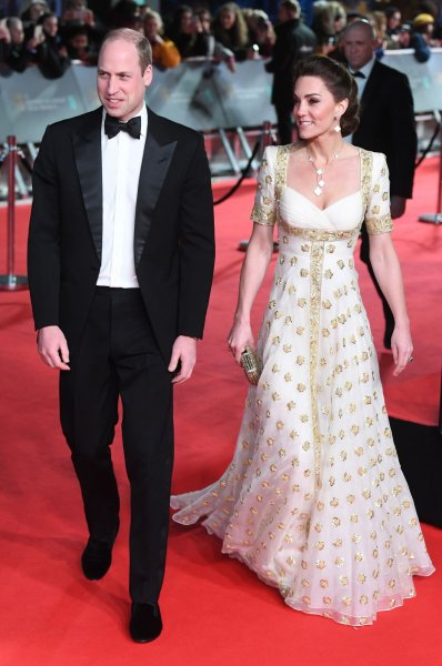 Prince William (L) and Kate Middleton attend the BAFTA Film Awards in London on Sunday. Photo by Rune Hellestad/UPI