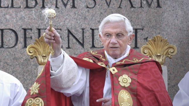 Pope Benedict XVI leads the Palm Sunday celebration at Saint Peter's square at the Vatican, on April 1, 2012. The Palm Sunday marks the holy week of Easter in celebration of the crucifixion and resurrection of Jesus Christ. UPI/Stefano Spaziani