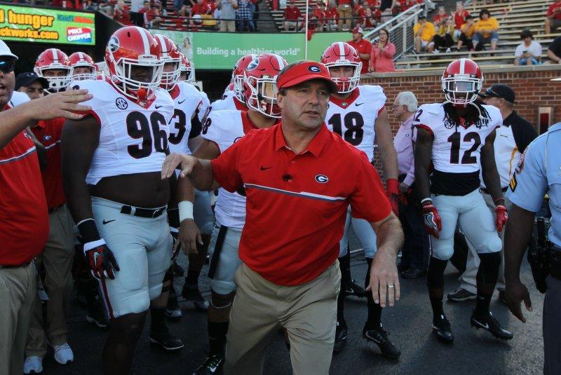 Georgia Bulldogs head coach Kirby Smart leads his team to the field. Photo by Bill Greenblatt/UPI