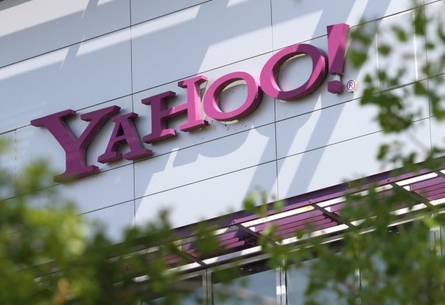 A Yahoo logo is seen on the company campus in Sunnyvale, Calif. on April 9, 2010. On Tuesday, the company announced that more than 3 billion Yahoo email accounts were hacked in 2013. File Photo by Mohammad Kheirkhah/UPI