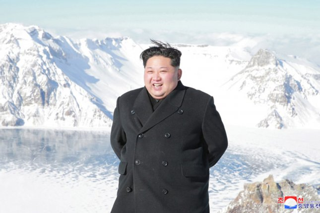 This image released on December 9 by the North Korean official news service, KCNA, shows North Korean leader Kim Jong Un during a sightseeing trip to Mount Paektu, an active volcano on the border between North Korea and China. File Photo by KCNA/UPI