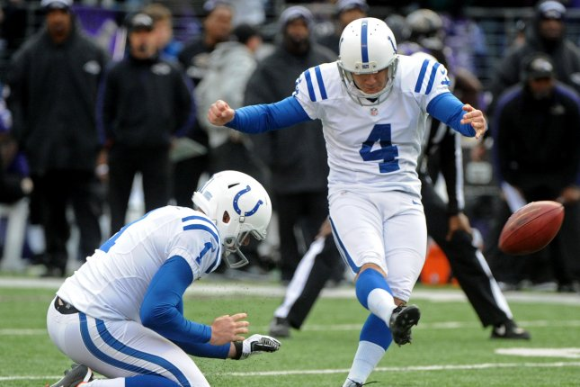 Indianapolis Colts kicker Adam Vinatieri (4) kicks a 47-yard field goal during the second quarter on January 6, 2013 at M&T Bank Stadium in Baltimore, Maryland. File photo by Kevin Dietsch/UPI