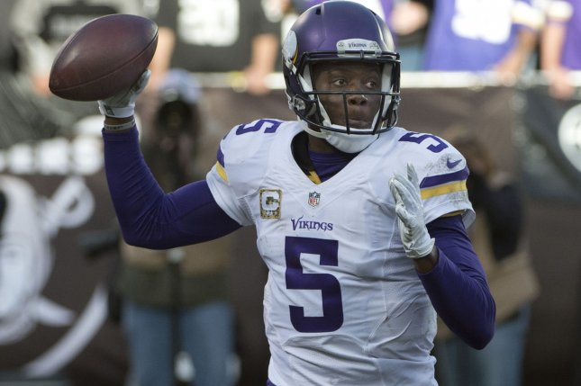 Former Minnesota Vikings QB Teddy Bridgewater (5). Photo by Terry Schmitt/UPI