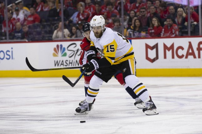 Pittsburgh Penguins forward Riley Sheahan was one of four players involved in a trade with the Florida Panthers on Friday, according to reports. File photo by Alex Edelman/UPI