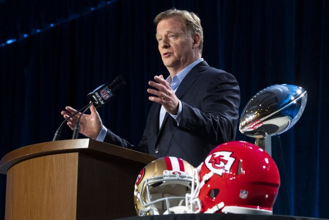 NFL commissioner Roger Goodell said Wednesday in Miami that the league is not where it wants to be as far as minority candidates being hired for front offices and head coach jobs. Photo by Kevin Dietsch/UPI