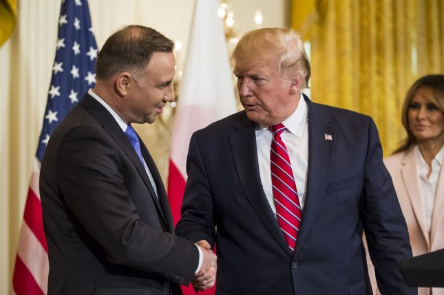 U.S. President Donald Trump, R, met with Polish President Andrzej Duda, L, at the White House on June 12, 2019. Their next meeting, on Wednesday, Duda is expected to push for an increased U.S. troop presence in Poland, as well as the sale of military aircraft. File Photo by Zach Gibson/UPI