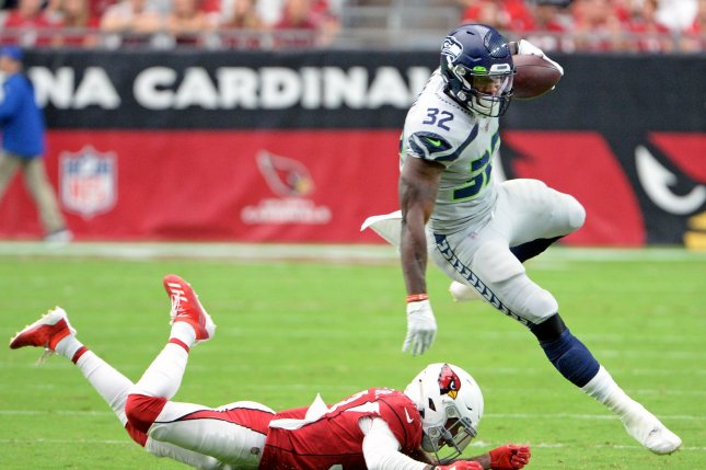 Seattle Seahawks running back Chris Carson suffered the foot injury in the first half of Sunday's loss to the Arizona Cardinals. File Photo by Art Foxall/UPI