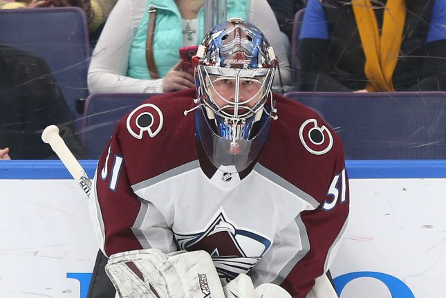 Colorado Avalanche goaltender Philipp Grubauer was placed in the NHL's COVID-19 protocols Wednesday and will miss at least two weeks. File Photo by Bill Greenblatt/UPI