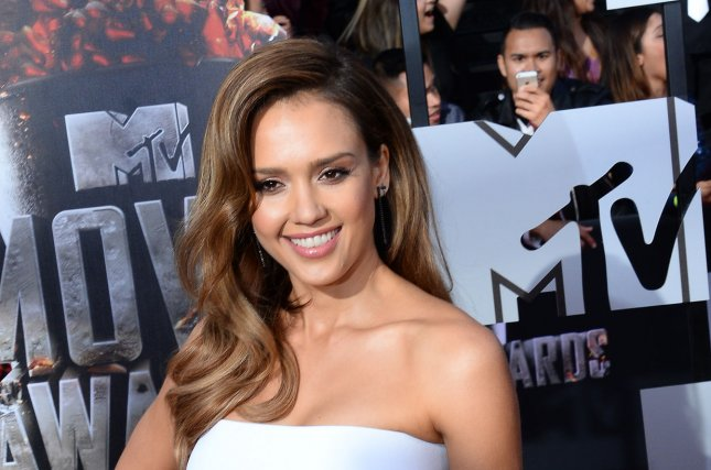 Actress Jessica Alba arrives for The MTV Movie Awards at Nokia Theatre L.A. Live in Los Angeles, Calif., on April 13, 2014. File Photo by UPI/Jim Ruymen