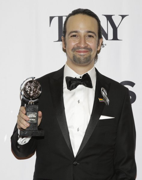 Lin-Manuel Miranda arrives in the press room after winning a Tony Award at the 70th Annual Tony Awards at the Beacon Theatre on June 12, 2016. He hosted Saturday Night Live this week and played Dustin from Stranger Things in a sketch. File Photo by John Angelillo/UPI