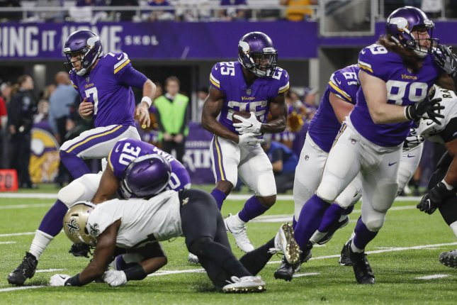 Minnesota Vikings running back Latavius Murray (25) rushes for a touchdown against the New Orleans Saints in the first half of the NFC Divisional Round on January 14, 2018 at U.S. Bank Stadium in Minneapolis. Photo by Kamil Krzaczynski/UPI