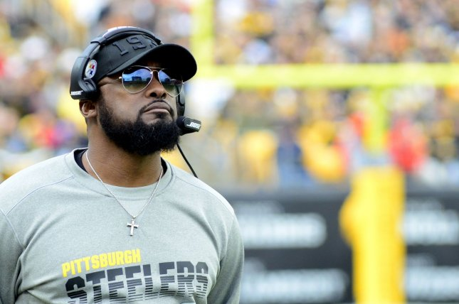 Pittsburgh Steelers head coach Mike Tomlin said he is dealing with minimal COVID-19 symptoms. File Photo by Archie Carpenter/UPI