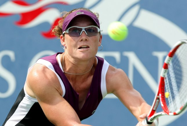 Samantha Stosur, shown in a 2011 file photo, was a first-round winner Monday at the Brisbane International tennis tournament. Stosur is the No. 1 seed in the season-opening event. UPI/Monika Graff