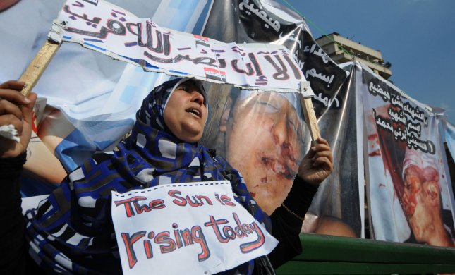 Egyptian anti-government protesters gather in Cairo's Tahrir square in Egypt on February 8, 2011 on the 15th day of protests against the regime of President Hosni Mubarak. Allegations of virginity tests have recently been supported by the Egyptian government. UPI