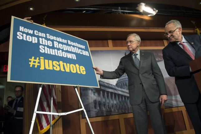 Senate Majority Leader Harry Reid (D-NV) (L) and Sen. Charles Schumer (D-NY) hold a press conference on the government shutdown in Washington, D.C. on October 3, 2013. UPI/Kevin Dietsch