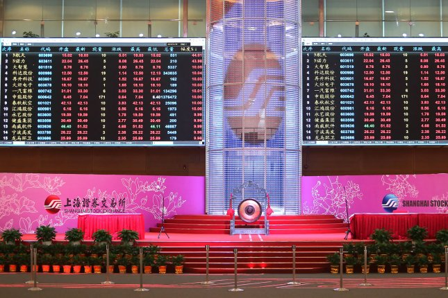 The Shanghai Composite Index on Tuesday closed down 0.5 percent Tuesday and 20 percent below a two-year high set in January. Photo by Stephen Shaver/UPI