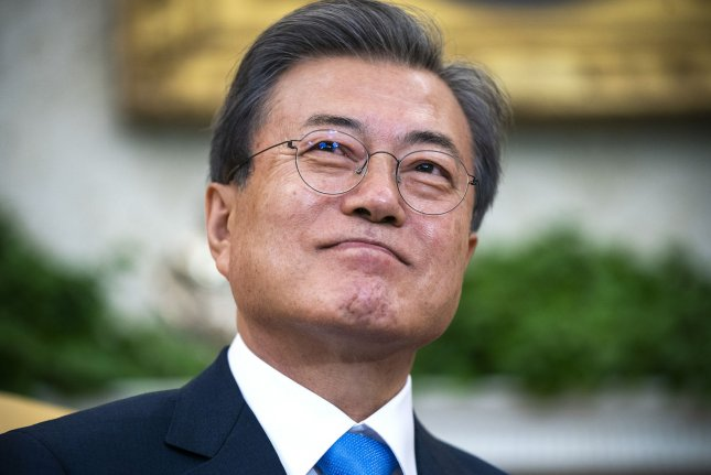South Korean President Moon Jae-in exchanged a phone call with U.S. President Donald Trump on Tuesday. File Photo by Jim Lo Scalzo/UPI