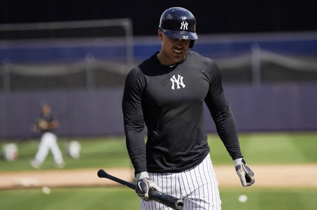 New York Yankees slugger Giancarlo Stanton hasn't played since suffering a quad injury in Game 1 of the ALCS. Photo by John Angelillo/UPI