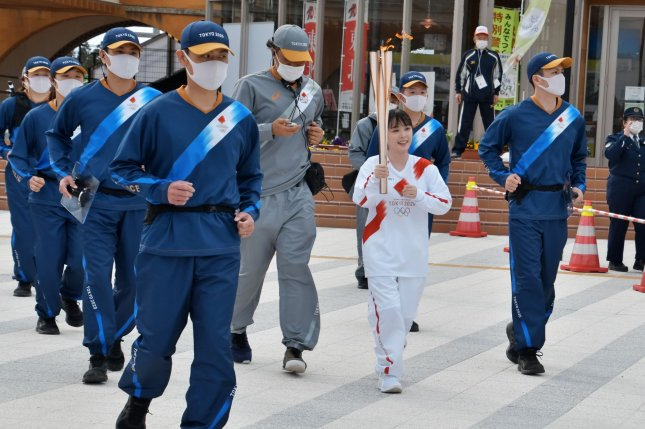 Japan's torch relay for the Tokyo Olympics led to a few accidents in Fukushima prefecture in March, according to local press report Thursday. File Photo by Keizo Mori/UPI