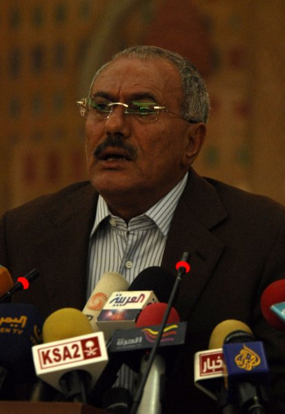 Yemeni President Ali Abdullah Saleh, who is now seeking a power sharing agreement in his first comments since an assassination attempt. UPI\Mohammad Abdullah.