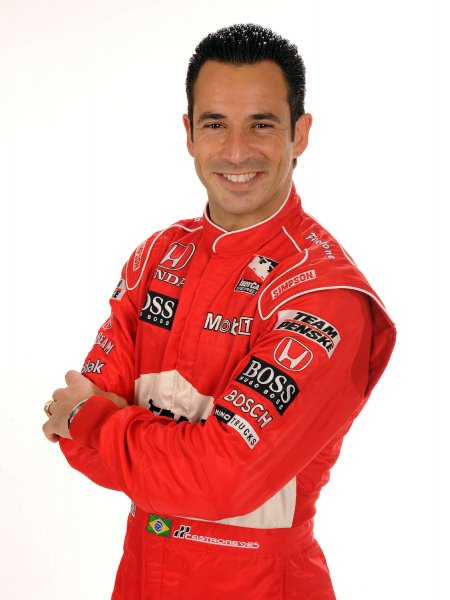 Two-time Indianapolis 500 winner Helio Castroneves, shown at the Homestead-Miami Speedway in Homestead, Fla., Feb. 26, 2008.(UPI Photo/Michael Bush/Files)