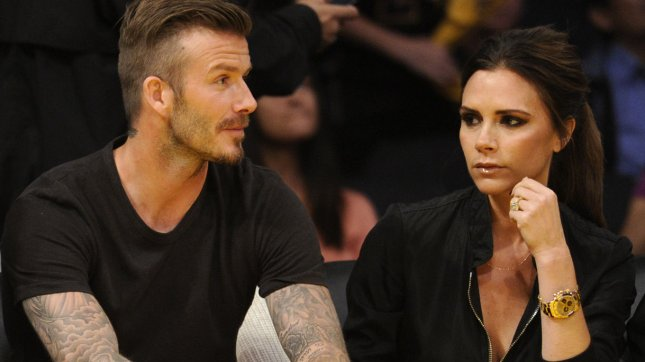 David and Victoria Beckham sit court side during the first half of Game 2 of the Western Conference Playoffs with the Los Angeles Lakers and Denver Nuggets at Staples Center in Los Angeles on May 1, 2012. UPI Photo/Lori Shepler