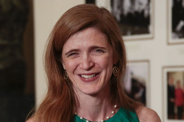 Samantha Power, U.S. ambassador to the United Nations, arrives at a state dinner hosted by U.S. President Barack Obama and U.S. First Lady Michelle Obama in honor of French President Francois Hollande at the White House in Washington, D.C. on February 11, 2014. (UPI/Andrew Harrer/Pool)
