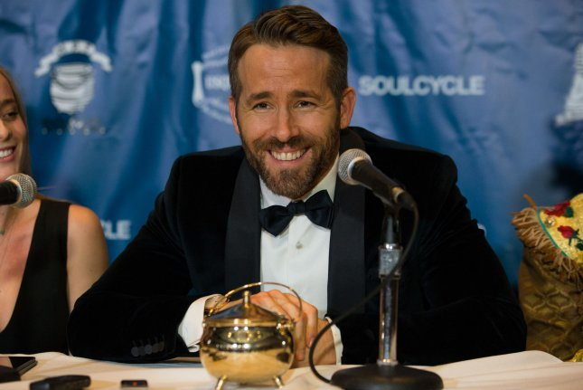 Ryan Reynolds speaks to reporters after receiving the Harvard University Hasty Pudding Theatricals Man of the Year award on February 3. File Photo by Matthew Healey/UPI