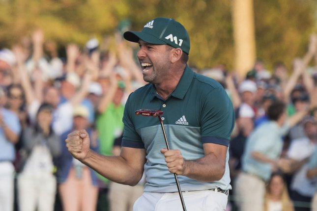 Sergio Garcia celebrates as he wins the 2017 Masters Tournament at Augusta National Golf Club in Augusta, Ga., on Sunday. Garcia beat out Justin Rose in a one hole playoff. Photo by Kevin Dietsch/UPI