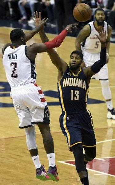 Paul George of the Indiana Pacers defends in a game against the Washington Wizards. George reportedly will be traded to the Oklahoma City Thunder. Photo by Mark Goldman/UPI