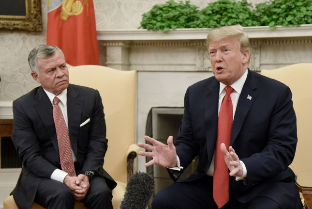 President Donald Trump meets with King Abdullah II in the Oval Office of the White House on Monday. Photo by Olivier Douliery/UPI