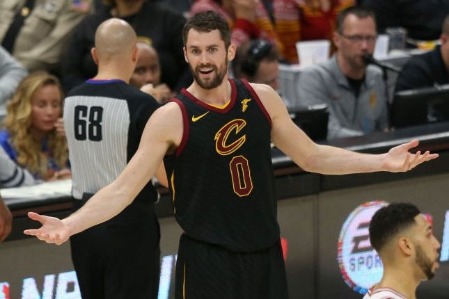 Cleveland Cavaliers Kevin Love reacts to a foul call during the second half against the Chicago Bulls at Quicken Loans Arena in Cleveland on December 21, 2017. Photo by Aaron Josefczyk/UPI