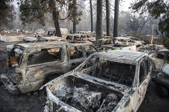 Burned-out cars cover a lot in the ruins of Paradise, Calif., on Nov. 17, 2018. The Camp Fire, California's worst and deadliest conflagration, has claimed at least 84 lives. Photo by Terry Schmitt/UPI