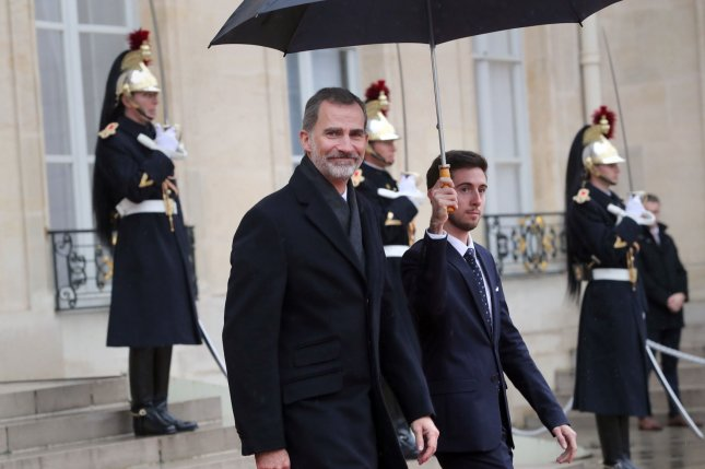 King Felipe VI of Spain leaves the Elysee Palace in Paris, France, after meeting with heads of state on November 11, 2018. File Photo by Eco Clement/UPI