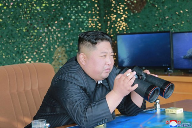 This image released on May 5 by the North Korean Official News Service (KCNA) shows North Korean leader Kim Jong Un supervising a military strike drill at an undisclosed location near the East Sea.  Photo by KCNA/UPI