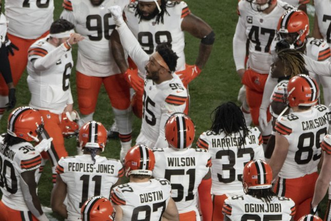 Cleveland Browns defensive end Myles Garrett (95) pumps up his teammates for a win over the Pittsburgh Steelers on Sunday in Pittsburgh. Photo by Archie Carpenter/UPI