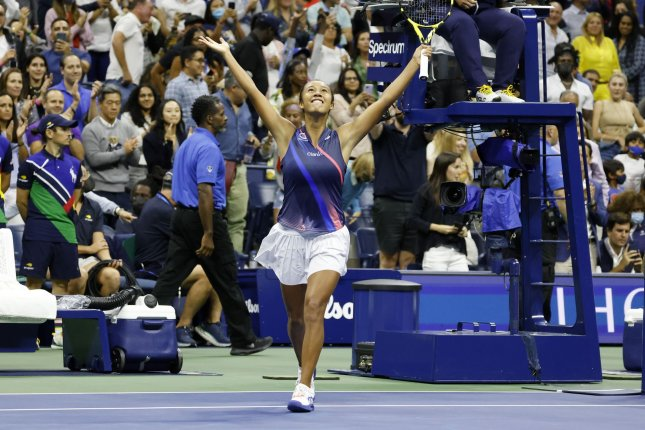 Leylah Fernandez of Canada celebrates after defeating Naomi Osaka of Japan in the third round of the 2021 U.S. Open Tennis Championships on Friday at the USTA Billie Jean King National Tennis Center in New York City. Photo by John Angelillo/UPI
