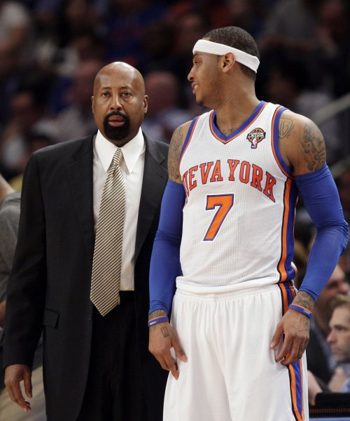 New York Knicks Carmelo Anthony and interim Coach Mike Woodson during a game against the Portland Trail Blazers at Madison Square Garden in New York, March 14, 2012. Woodson is seen in his first game as head coach after replacing Mike D'Antoni. UPI/John Angelillo