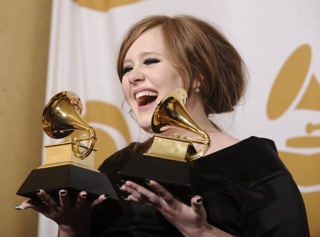 Adele holds her Grammy Awards for Best Female Pop Vocal Performance and Best New Artist at the 51st annual Grammy Awards at the Staples Center in Los Angeles on February 8, 2009. (UPI Photo/ Phil McCarten)