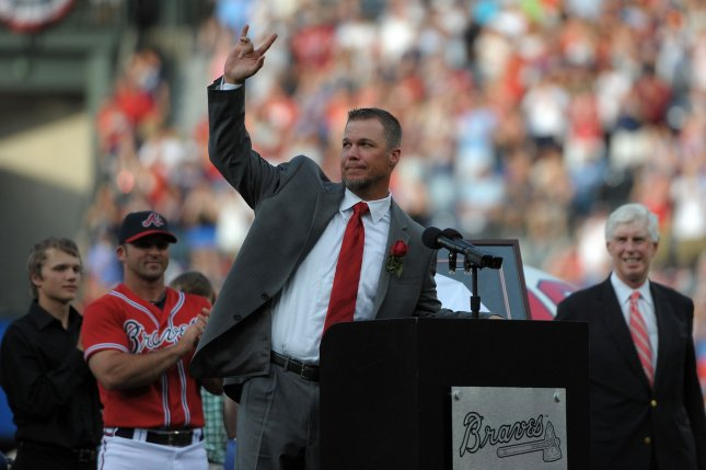 Former Atlanta Braves third baseman Chipper Jones is honored with the retirement of his No. 10 jersey during pre-game ceremonies before the Atlanta Braves face the Arizona Diamondbacks at Turner Field in Atlanta, June 28, 2013. File photo by David Tulis/UPI