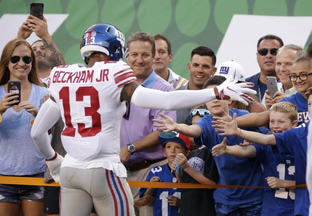 New York Giants receiver Odell Beckham Jr. greets fans on the field before a preseason game against the New York Jets at MetLife Stadium in East Rutherford, New Jersey on August 24, 2018. Photo by John Angelillo/UPI