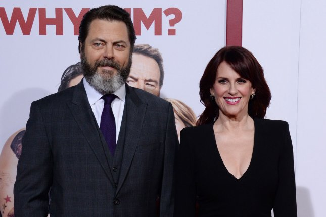 Megan Mullally and Nick Offerman celebrated their 15th wedding anniversary Thursday. File Photo by Jim Ruymen/UPI