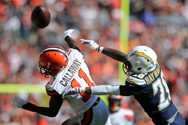 Los Angeles Chargers defender Casey Hayward Jr. breaks up a pass intended for Cleveland Browns wide receiver Antonio Callaway on October 14 at First Energy Stadium in Cleveland. Photo by Aaron Josefczyk/UPI