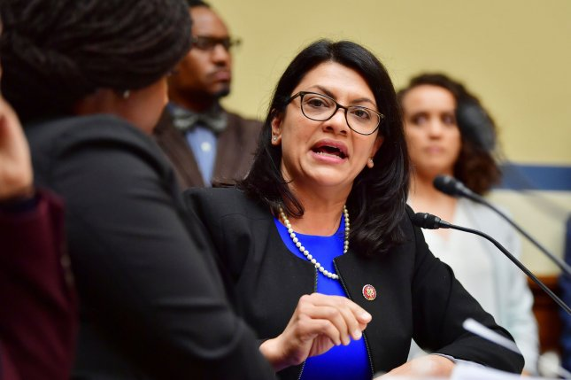 Rep. Rashida Tlaib, D-Mich., says she will not visit Israel after officials imposed restrictions on the trip.  File Photo by Kevin Dietsch/UPI
