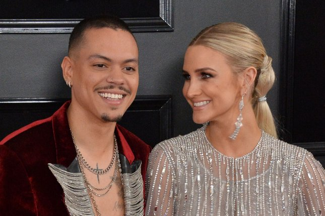 Evan Ross (L) and Ashlee Simpson welcomed their second child this weekend. File Photo by Jim Ruymen/UPI