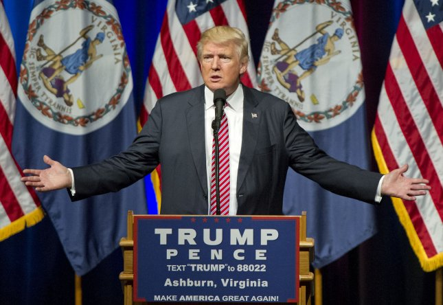 Donald J. Trump, the Republican candidate for president of the United States, makes a campaign appearance Tuesday at Briar Woods High School in Ashburn, Va. Trump asked a woman with a crying baby to leave his rally a few minutes after he told her he loved crying babies. Photo by Ron Sachs/UPI